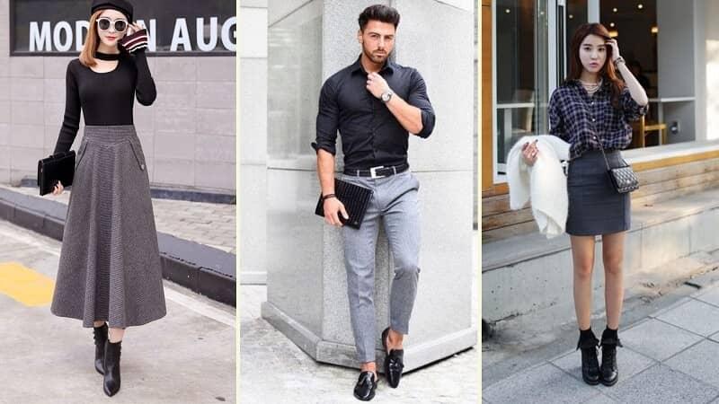 Chân váy/ quần màu ghi kết hợp với áo màu gì?