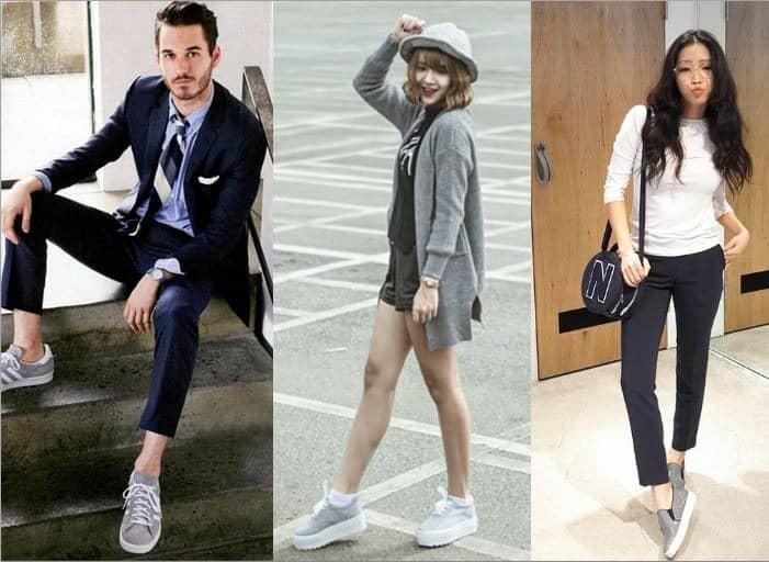 Giày màu ghi có nhiều lựa chọn quần để phối