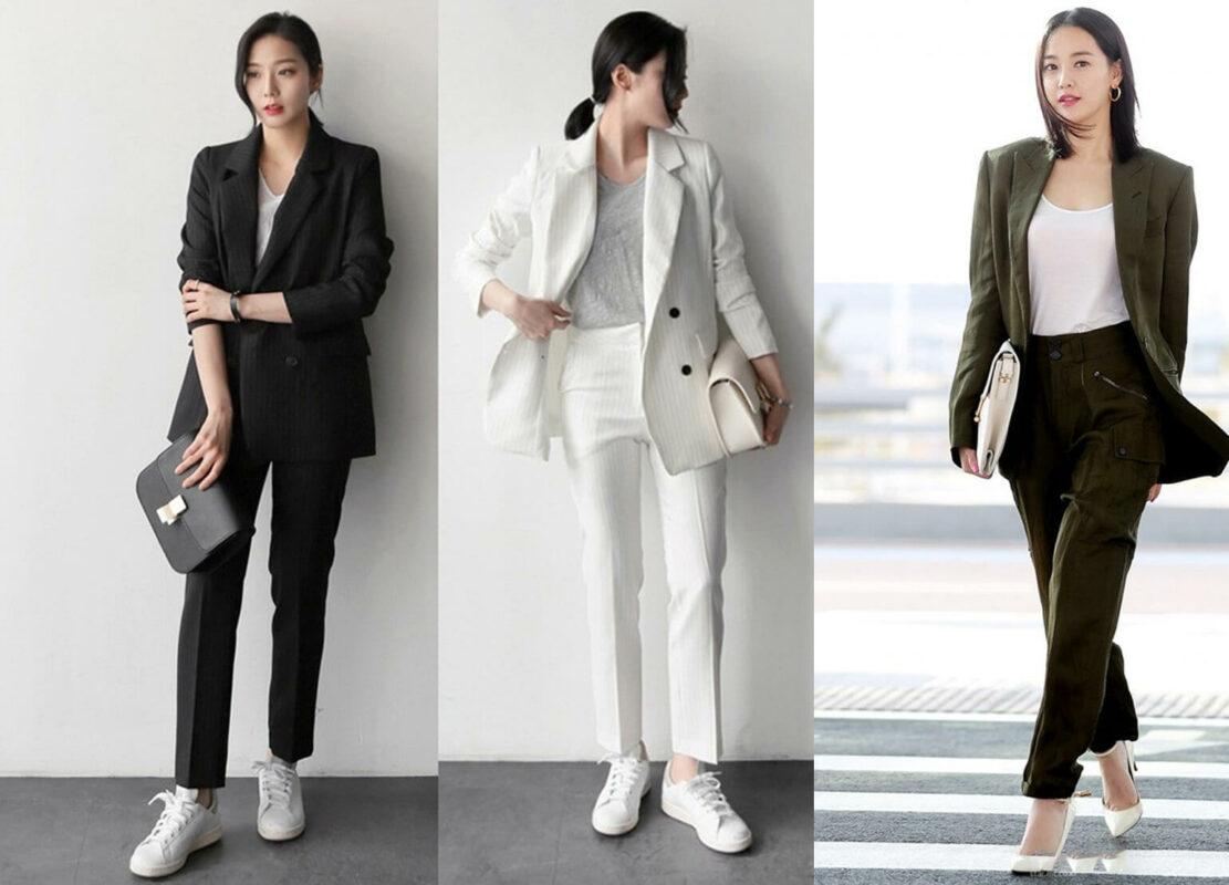 Thanh lịch cùng cách phối đồ với blazer cùng áo phông và quần jean